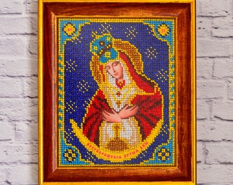 Beaded Icon-Virgin Mary-Mother Mary-Our Lady-Holy Mary-Mother of God-Handmade icon-Religious gift-Catholic art-Catholic gift-Handmade