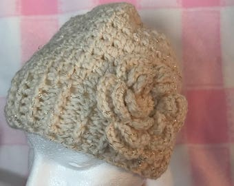 Messy Bun Hat with Flower