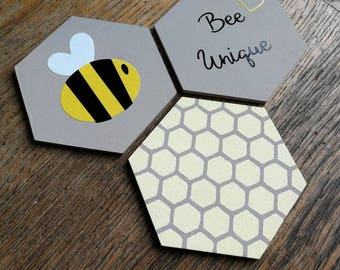 Bee/Bee Unique/Honeycomb Decorative wall art for nursery or child's room - hand painted