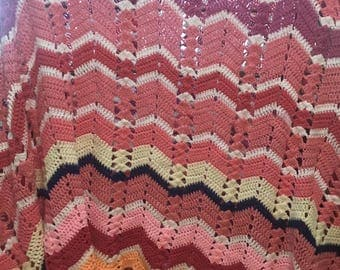 """Handmade Crochet Zigzag Blanket Afghan. 156""""x 96"""". Pink & Purple"""
