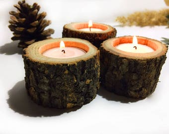 Oak Wood Candle Holder