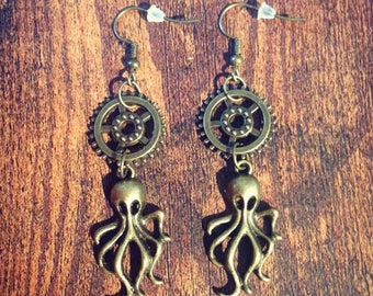 Earrings dangling Octopus/octopus steampunk