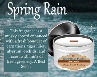 Spring Rain Scented Soy Candle Tin (8 oz.)