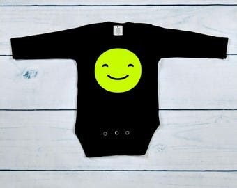 Smiley face ,emoji,black long sleeve, onesie, bodysuit