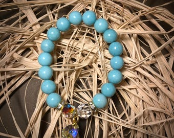 Natural Gemstone Amazoniteblue Bracelet With Swarovski Elements