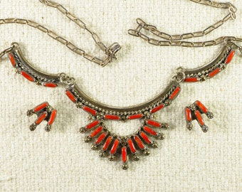 Native American  Zuni Coral Needle Point Necklace and Earrings