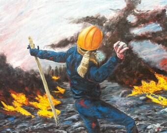 Barricades2 / 110x92cm oil on canvas
