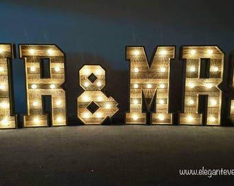 4ft Large Rustic Pallet Wooden Wedding Light Up Mr & Mrs Letters