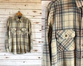 Vintage JcPenney The Mens Shop Plaid Wool Shirt Size L