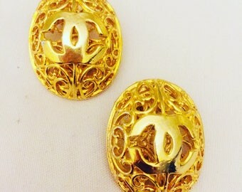 Caged vintage chanel earrings