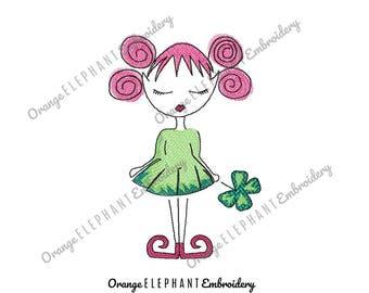 St Patrick's Day Shamrock Girl Elf Machine Embroidery Design Digital File