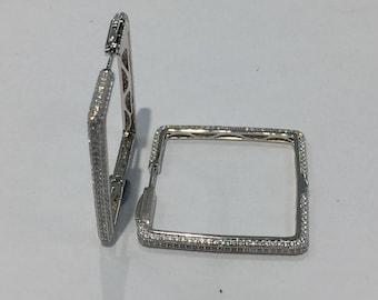 Rhodium-Plated  925 Sterling Silver & Cubic Zirconia Square Hoop Earrings