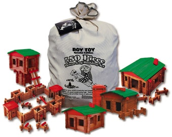 Roy Toy 550 pc. Deluxe Log Building set, Made in the USA