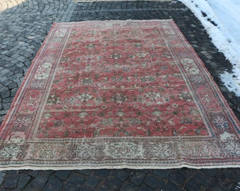 Pink Color Large Size Rug Free Shipping 7.1 x 10.7 ft. Handknotted Turkish Rug Anatolian Rug Unique Color And Size Turkish Rug MB71