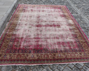 Unique Anatolian turkish rug, Free Shipping 7.2 x 10.3 ft. natural dyed area rug turkey rug, bohemian rug, oushak rug, rustic rug, MB359
