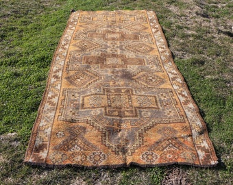 Free Shipping 4.4 x 9.5 ft. very rare turkish rug, oversize runner area rug, rustic runner rug, anatolian runner rug, handknotted rug, MB444