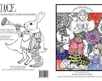 Alice, A Coloring Book for Adults, signed by writer/illustrator, Sande Jones-Elkins
