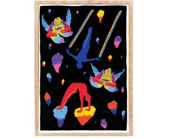 Cosmic swimming - poster, limited edition art print to frame to liven up your home.