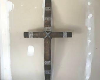 Handmade Rustic Wine Stave Cross