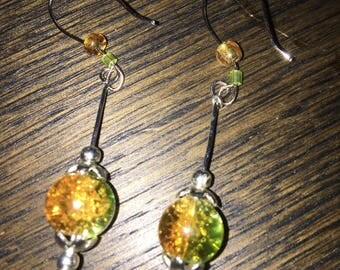Earrings of glass beads.