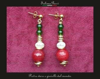 Jade Earrings, pearls and ruby root, gemstone earrings, pendants, stone jewelry ear rings Gift