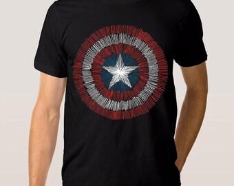 Captain America Art T-Shirt, Marvel Comics Tee, All Sizes