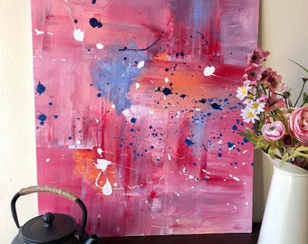 Red Abstract Painting, Expressionist Vibrant Art, Modern Art Acrylic Painting, Original Art, Pink Abstract Canvas Art, Contemporary Artwork