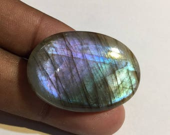 56.9 Cts 100% Natural Medagascar's Labradorite Cabochon Purple Multi Fire Polished Cabochon Healing Quartz Oval Shape 36x25.5x6 mm N#1082-20