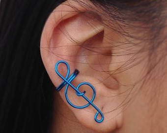 Treble Clef Ear Cuff / Wrap ( faux fake piercing ) ( music ) ( earring )