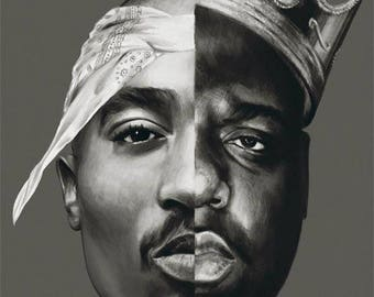 2pac biggie smalls rapper Two faces movie poster decoration house room custom