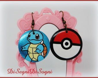 Pokemon Squirt Earrings-hand Painted