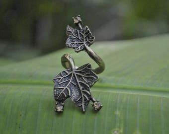 Brass maple ring, vintage design, handmade ring