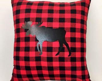 Buffalor Plaid Moose Pillow