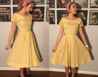 Vintage 50's Buttercream Cotton Polka Dot Day Dress