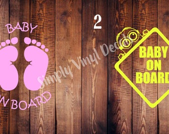 Baby on board car decals, 9 inch