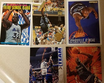 Five Shaquille O'Neal cards