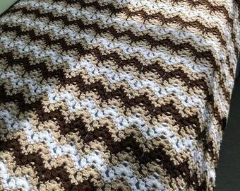 Handmade Crocheted Multicolored Brown Afghan
