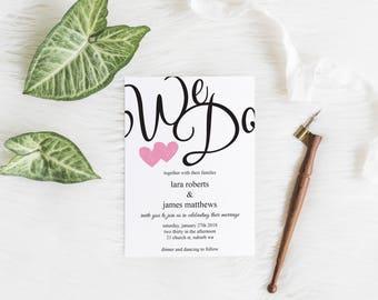 Digital Printable We Do Wedding Invite Kit #0004