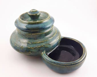 Green/Blue Pencil Shavings Pot with Lid