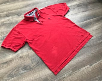 Throwback!! 90s Red Tommy Hilfiger Polo, US Men's Large