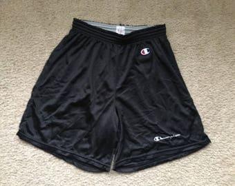 Men's Vintage 90s Champion Black Mesh Shorts Size Medium 32-34
