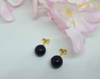 Onyx Ball Stud Earrings 10 mm in 925 sterling silver gold Plated