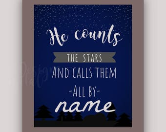 He Counts the Stars Digital Print Instant Download