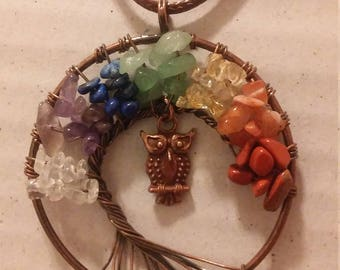 Multi-Color Owl Tree of Life Necklace