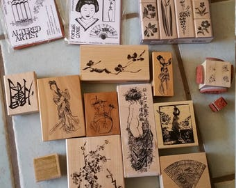 Asian rubber stamp collection, some used