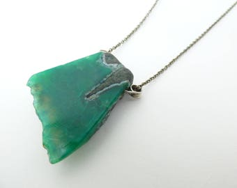 Emerald Green Geode Necklace