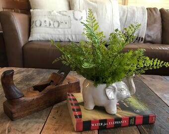 Elephant Planter, Ceramic Planter, Fern Planter, Artificial Plant, Elephant Decor, Spring Decor,