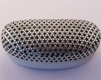Diamante Bling Large Glasses Case finished in Black and Silver
