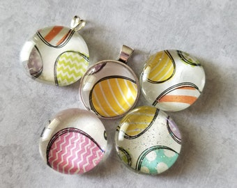 Sketched Decorated Easter Egg Print Pendant, Magnet, Cabochon Necklace