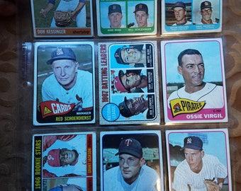 9 baseball cards 1960s